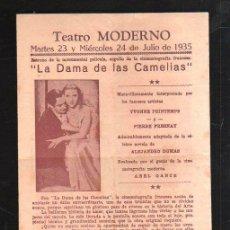 Cine: PROGRAMA DE MANO. LA DAMA DE LAS CAMELIAS. JULIO 1935.. Lote 43128103
