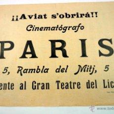 Cine: CINEMATÓGRAFO PARIS, BARCELONA. RAMBLA DEL MITJ, 5. 20X27 CM. ANUNCIO. 1910 APROX. Lote 43339201