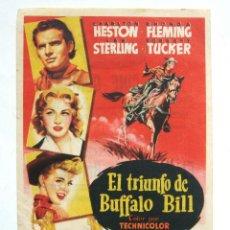 Cine: PROGRAMA SENCILLO *EL TRIUNFO DE BUFFALO BILL 1955 CHARLTON HESTON RHONDA FLEMING. CINE CONDADO LEÓN. Lote 43445243