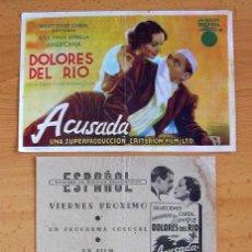 Cine: ACUSADA - DOLORES DEL RIO - 3 PROGRAMAS DIFERENTES - CON PUBLICIDAD. Lote 43502506