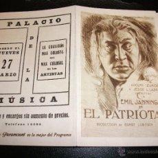 Cine: EL PATRIOTA PROGRAMA DE CINE DESPLEGABLE CON PUBLICIDAD - PALACIO DE LA MUSICA MADRID. Lote 43584159