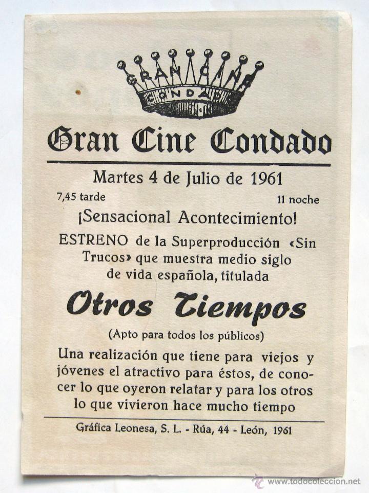 Cine: PROGRAMA SENCILLO *OTROS TIEMPOS* 1961 DOCUMENTAL DE CARLOS FERNANDEZ CUENCA. CINE CONDADO LEÓN - Foto 2 - 43626979