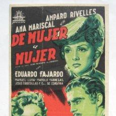 Cine: PROGRAMA SENCILLO *DE MUJER A MUJER* 1950 AMPARO RIVELLES ANA MARISCAL. CINE ARAMO OVIEDO ASTURIAS. Lote 43630019