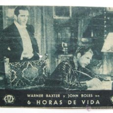 Cine: PROGRAMA TARJETA FOX *6 HORAS DE VIDA* WARNER BAXTER JOHN BOLES. CINE CAMPOS ELISEOS GIJÓN ASTURIAS. Lote 43646248