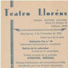 Folhetos de mão de filmes antigos de cinema: EL REY SOLDADO. PROGRAMA LOCAL (21X11) TEATRO LLORÉNS - SEVILLA 1935.. Lote 43652246
