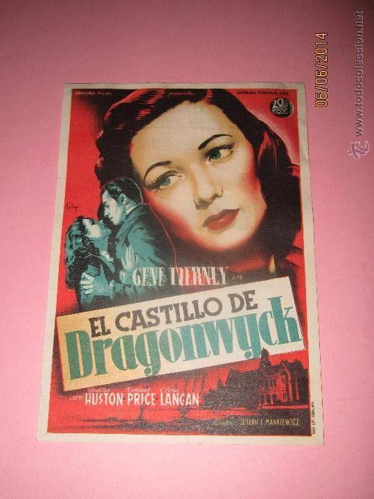 ANTIGUO PROGRAMA DE CINE * EL CASTILLO DE DRAGONWYCK * EN EL CENTRAL CINEMA DE TIBI - AÑO 1949 (Cine - Folletos de Mano - Drama)