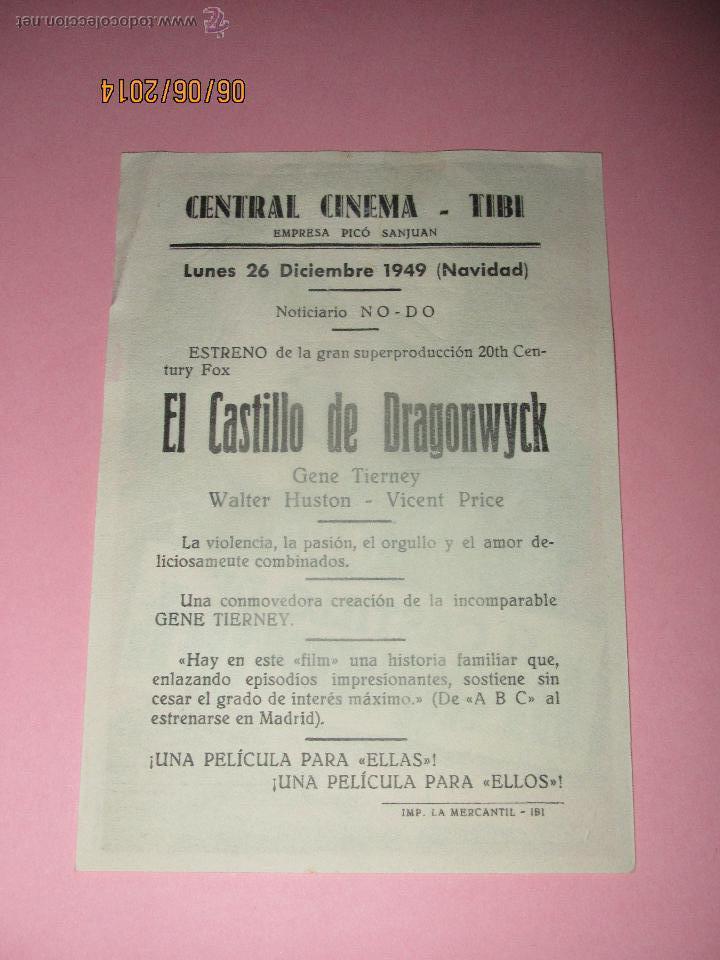 Cine: Antiguo Programa de Cine * EL CASTILLO DE DRAGONWYCK * en el CENTRAL CINEMA de TIBI - Año 1949 - Foto 2 - 177735954