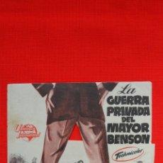 Cine: LA GUERRA PRIVADA DEL MAYOR BENSON, DOBLE TROQUELADO, UNIVERSAL, CON PUBLICIDAD MONTERROSA. Lote 43750096