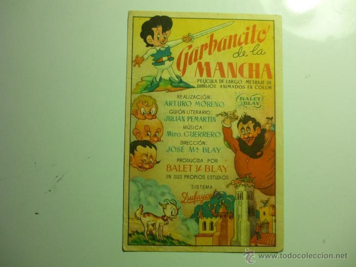 PROGRAMA GARBANCITO DE LA MANCHA.-PUBLICIDAD CINE JEREZANO (Cine - Folletos de Mano - Infantil)