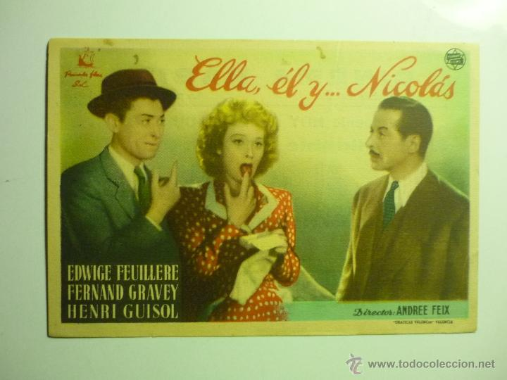 PROGRAMA ELLA EL Y...NICOLAS.-EDWIGE FEUILLERE-PUBLICIDAD CINEMA RABIDA (Cine - Folletos de Mano - Comedia)