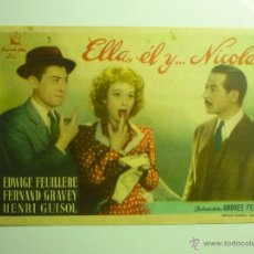 Cine: PROGRAMA ELLA EL Y...NICOLAS.-EDWIGE FEUILLERE-PUBLICIDAD CINEMA RABIDA. Lote 43812897