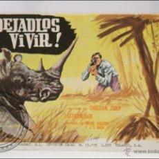 Cine: PROGRAMA DE CINE - ¡DEJADLOS VIVIR! - SIN PUBLICIDAD AL DORSO - 13,5 X 9 CM. Lote 43843723
