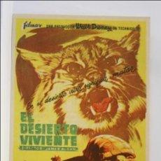 Cine: PROGRAMA DE CINE - EL DESIERTO VIVIENTE - PUBLICIDAD AL DORSO - 13 X 8,5 CM. Lote 43843751