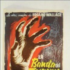 Cine: PROGRAMA DE CINE - LA BANDA DEL TERROR - EDGARD WALLACE - SIN PUBLICIDAD AL DORSO - 13,5 X 9 CM. Lote 43845801