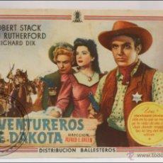 Cine: PROGRAMA DE CINE - AVENTUREROS DE DAKOTA - SIN PUBLICIDAD AL DORSO - 13 X 9 CM. Lote 43857017