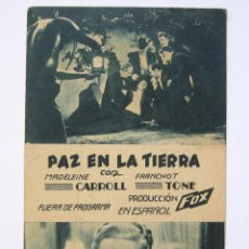 Cine: PROGRAMA TARJETA FOX *PAZ EN LA TIERRA* MADELEINE CARROL FRANCHOT TONE.. Lote 43869979