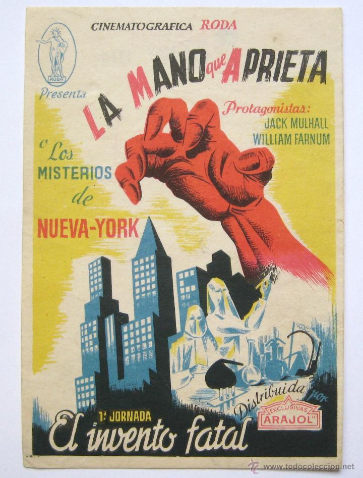 *LA MANO QUE APRIETA - LOS MISTERIOS DE NUEVA YORK 1ª JORNADA EL INVENTO FATAL* SANZ VALLADOLID (Cine - Folletos de Mano - Suspense)