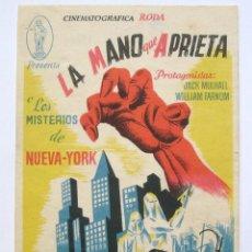 Cine: *LA MANO QUE APRIETA - LOS MISTERIOS DE NUEVA YORK 1ª JORNADA EL INVENTO FATAL* SANZ VALLADOLID . Lote 43922750
