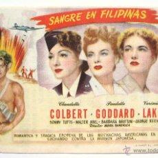 Cine: PROGRAMA SENCILLO *SANGRE EN FILIPINAS* 1946 CLAUDETTE COLBERT PAULETTE GODDARD. CINE MARI LEÓN. Lote 43953178