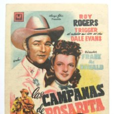 Cine: PROGRAMA SENCILLO * LAS CAMPANAS DE ROSARITA* 1947 ROY ROGERS DALE EVANS. CINE COCA VALLADOLID. Lote 43953844
