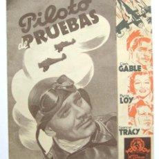 Cine: PROGRAMA DOBLE *PILOTO DE PRUEBAS* CLARK GABLE MYRNA LOY SPENCER TRACY (VICTOR FLEMING). LATINA. Lote 43953976