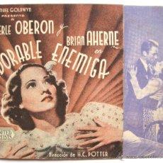 Cine: PROGRAMA DOBLE *ADORABLE ENEMIGA* 1941 MERLE OBERON BRIAN AHERNE. CINE TARAMONA SALAMANCA. Lote 43954509