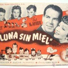Cine: PROGRAMA SENCILLO *LUNA SIN MIEL* 1949 CLAUDETTE COLBERT FRED MCMURRAY. CINE MARI LEÓN. Lote 43954552