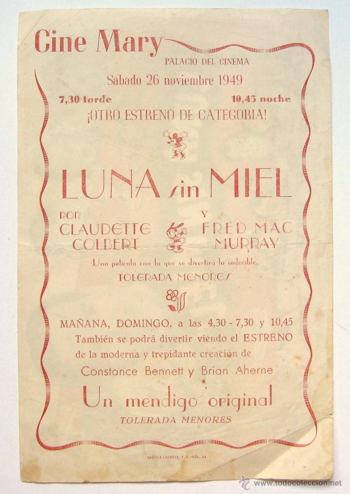 Cine: PROGRAMA SENCILLO *LUNA SIN MIEL* 1949 CLAUDETTE COLBERT FRED MCMURRAY. CINE MARI LEÓN - Foto 2 - 43954552