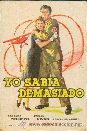 YO SABIA DEMASIADO (Cine - Folletos de Mano - Musicales)
