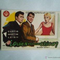 Folhetos de mão de filmes antigos de cinema: PROGRAMA DE CINE - QUIEN ERA ESA CHICA - SIN PUBLICIDAD - NUEVO -. Lote 43997827