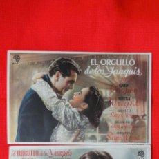 Cine: EL ORGULLO DE LOS YANQUIS, 2 SENCILLOS GARY COOPER TERESA WRIGHT, 1 CON PUBLICIDAD PROYECCIONES. Lote 44012793