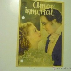 Cine: PROGRAMA AMOR INMORTAL .-LILIAN HARVEY.-PUBLICIDAD--CINE GOYA. Lote 44015663
