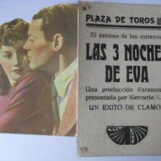 Cine: LAS 3 NOCHES DE EVA - PROGRAMA DOBLE . Lote 44050940