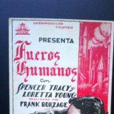 Cine: BONITO PROGRAMA DE 1934 EN TARJETA DE CINE-FUEROS HUMANOS. Lote 44057372