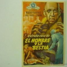 Cine: PROGRAMA EL EXTRAÑO CASO DE EL HOMBRE Y LA BESTIA.-MARIO SOFFICI-PUBLICIDAD. Lote 44208745