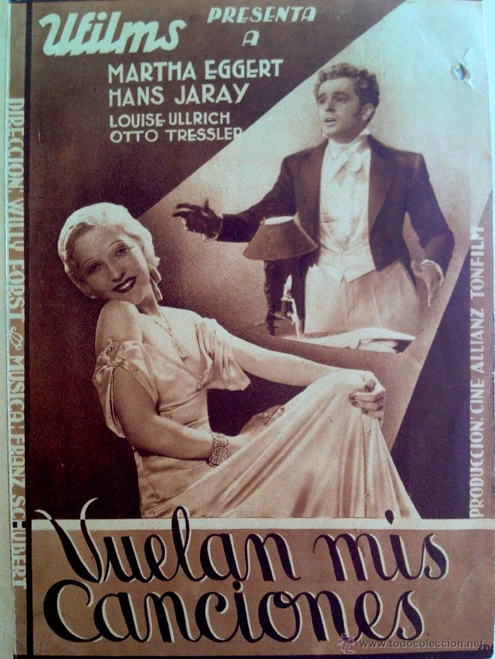 VUELAN MIS CANCIONES-PROGRAMA DOBLE-MÚSICA FRAANZ SHUBERT-SALA EDISON FIGUERAS FEBRERO 1934 (Cine - Folletos de Mano - Musicales)