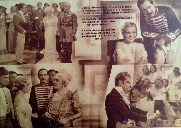 Cine: VUELAN MIS CANCIONES-PROGRAMA DOBLE-MÚSICA FRAANZ SHUBERT-SALA EDISON FIGUERAS FEBRERO 1934 - Foto 2 - 44326427