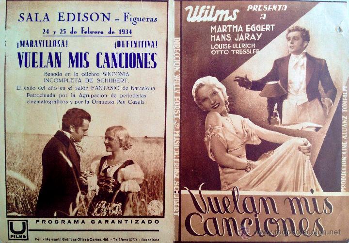 Cine: VUELAN MIS CANCIONES-PROGRAMA DOBLE-MÚSICA FRAANZ SHUBERT-SALA EDISON FIGUERAS FEBRERO 1934 - Foto 3 - 44326427