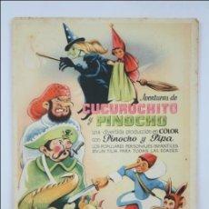Cine: PROGRAMA DE CINE - AVENTURAS DE CUCURUCHITO Y PINOCHO - SIN PUBLICIDAD AL DORSO - 16 X 11 CM. Lote 44337044