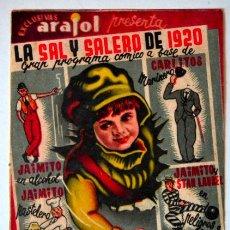 Cine: LA SAL Y EL SALERO DE 1920 * ARAJOL * SENCILLO * SIN PUBLICIDAD. Lote 44776364