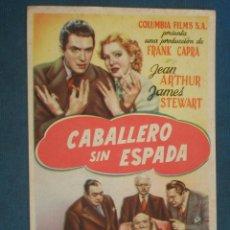 Cinema - PROGRAMA DE MANO . CABALLERO SIN ESPADA , SIN PUBLICIDAD . - 44865566