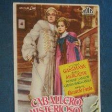 Cine: PROGRAMA DE MANO . CABALLERO MISTERIOSO , SIN PUBLICIDAD . . Lote 44865589