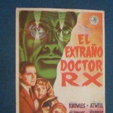 Foglietti di film di film antichi di cinema: PROGRAMA DE MANO . EL EXTRAÑO DOCTOR RX, SIN PUBLICIDAD . . Lote 44877003