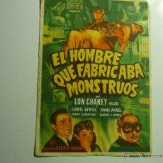 Cine: PROGRAMA EL HOMBRE QUE FABRICABA MONSTRUOS-LON CHANEY -PUBLICIDAD. Lote 111696932