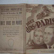 Cine: ANTIGUO FOLLETO DE MANO AÑOS DIEZ DIAS EN PARIS, TEATRO PRINCIPAL, AÑO 1942 ALCOY. Lote 44919371