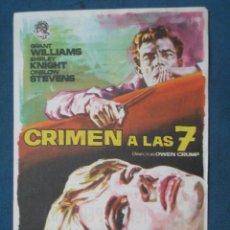 Flyers Publicitaires de films Anciens: PROGRAMA DE MANO .CRIMEN A LAS 7 , CON PUBLICIDAD . ( VER FOTO ADICIONAL ). . Lote 44928923