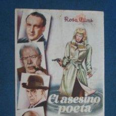 Cine: PROGRAMA DE MANO . EL ASESINO POETA , CON PUBLICIDAD . . Lote 44929477