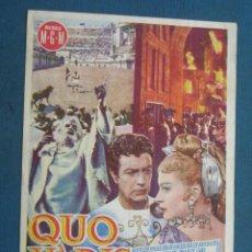 Foglietti di film di film antichi di cinema: PROGRAMA DE MANO .QUO VADIS , CON PUBLICIDAD . ( VER FOTO ADICIONAL ). . Lote 44936164