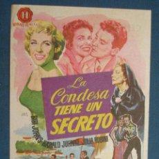 Flyers Publicitaires de films Anciens: PROGRAMA DE MANO . LA CONDESA TIENE UN SECRETO , CON PUBLICIDAD . ( VER FOTO ADICIONAL ). . Lote 44960523