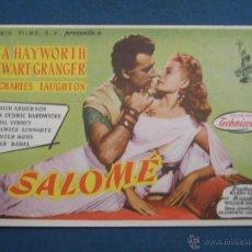 Flyers Publicitaires de films Anciens: PROGRAMA DE MANO . SALOMÉ , SIN PUBLICIDAD . ( VER FOTO ADICIONAL ). . Lote 44966745